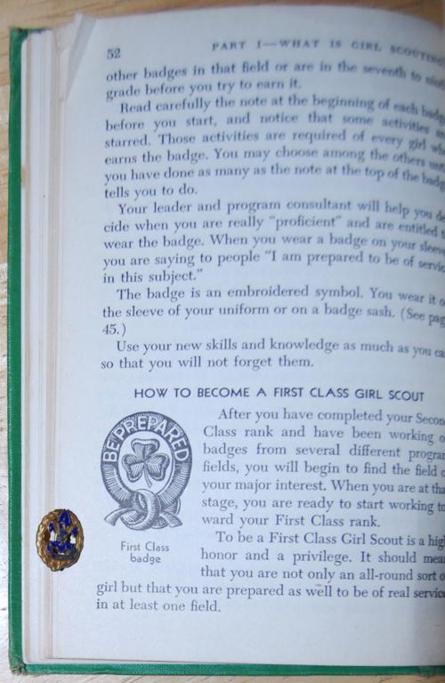 Girl scout handbook 1951 pin be prepared
