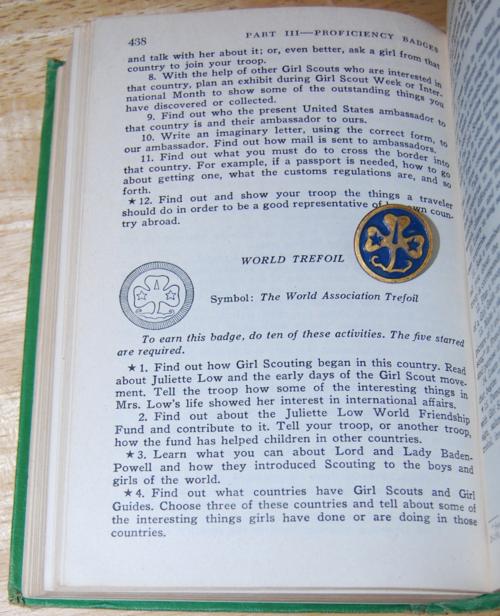 Girl scout handbook 1951 pin world trefoil