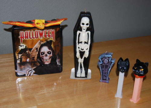 Vintage skeleton candle