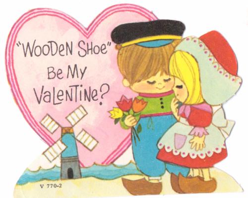 Vintage valentine wooden shoe