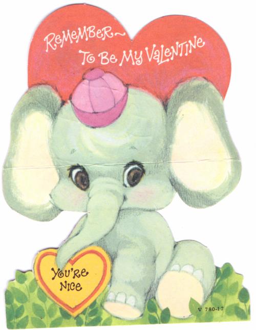 Vintage valentine elephant