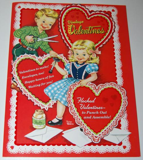 Vintage flocked valentines book