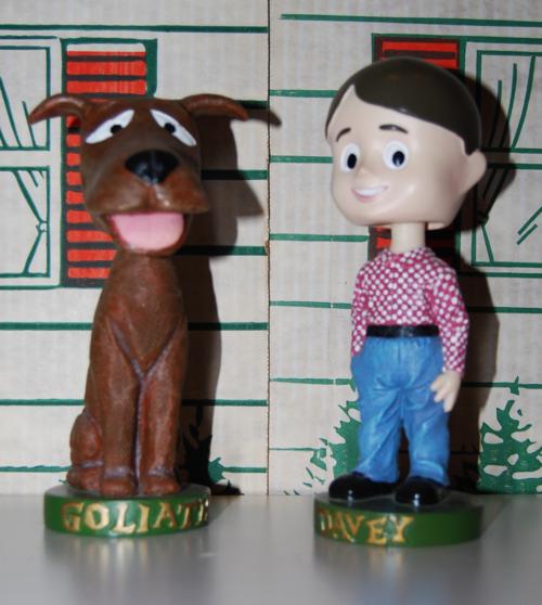 Davey & goliath bobble heads