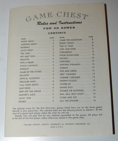 Whitman game chest rules
