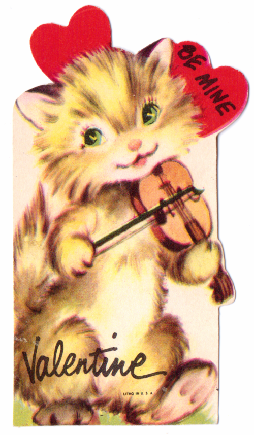 Vintage valentine kitty violin