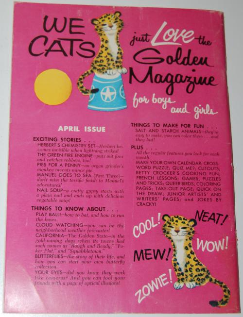 Golden magazine march 1964 back