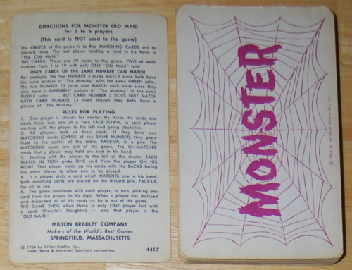 Mb monster old maid 1964 cards