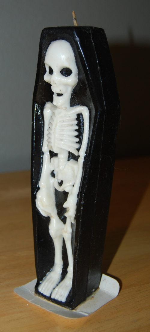 Vintage skeleton candle side