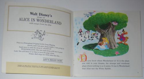 Disney alice book record 1965 inside