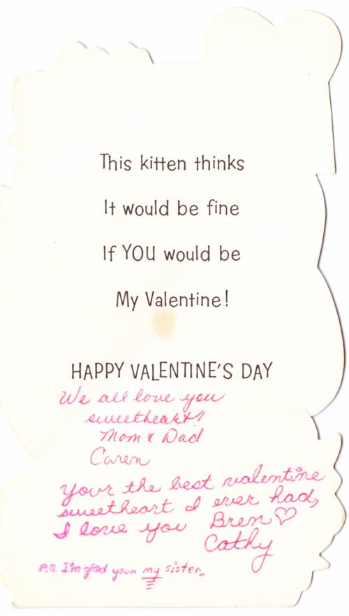 Vintage valentine kitten x
