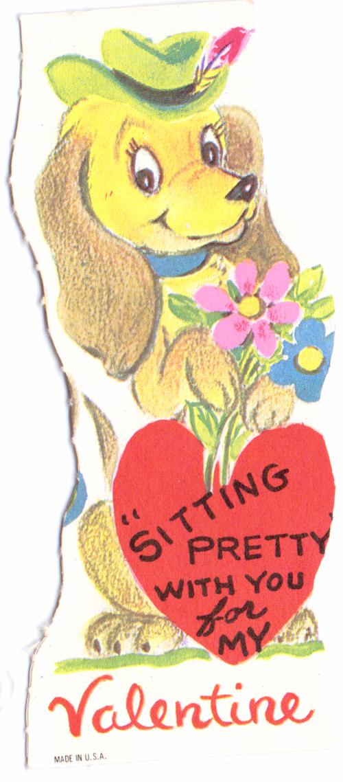 Vintage valentine dog