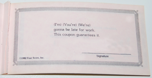 Love coupons 1982