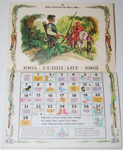 Golden magazine february 1965 calendar