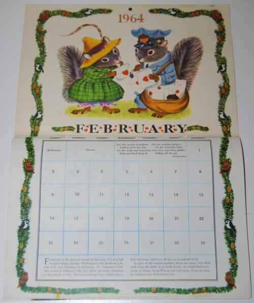 Golden magazine february 1964 calendar