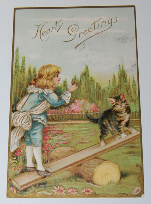 Vintage postcard kitty