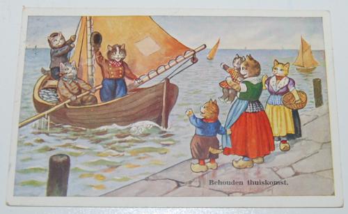 Vintage postcard cats