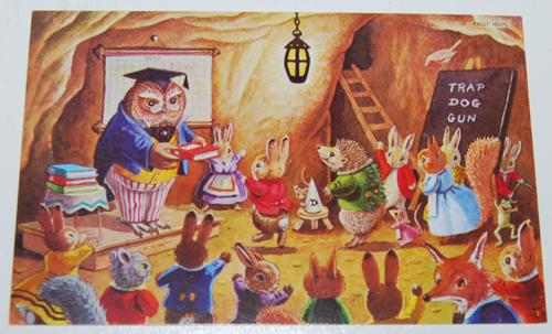 Vintage postcard animal school