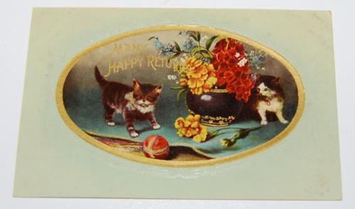 Vintage postcard kittens