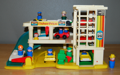 fisher price little people garage lost found vintage toys. Black Bedroom Furniture Sets. Home Design Ideas