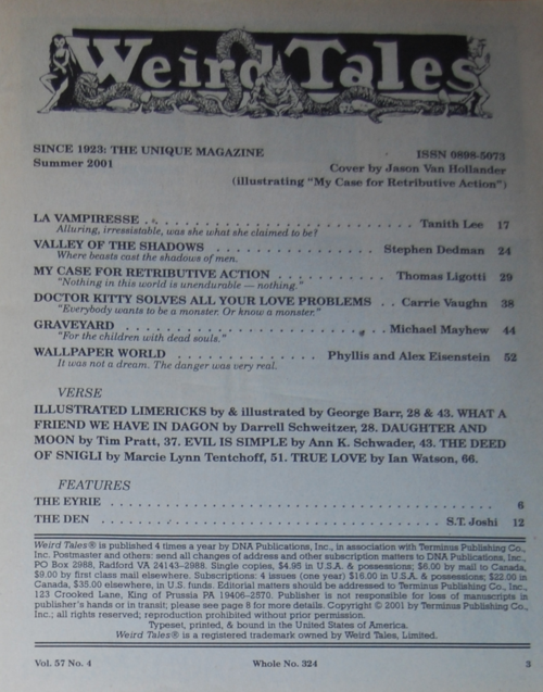 Weird tales contents