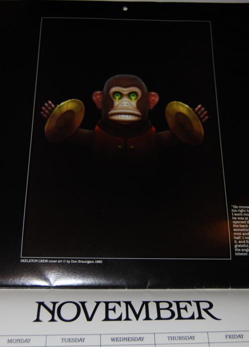 Stephen king 1986 calendar page monkey