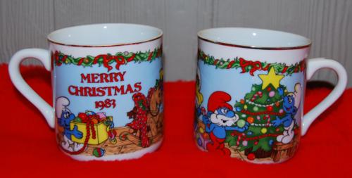 1983 smurf xmas mugs