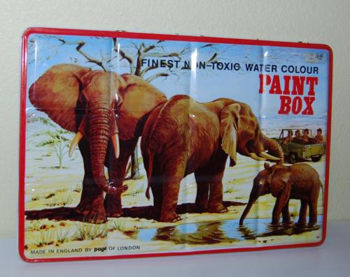 Tin paint box elephants 2