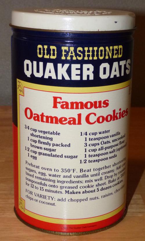 Quaker oats tin x