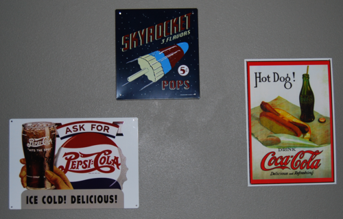 Retro tin signs