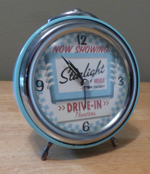 Starlight drive in tin retro clock