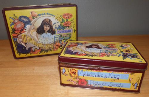 Mandeville & king flower seeds tins x