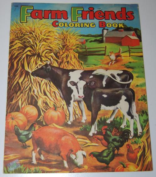 Vintage farm friends coloring book