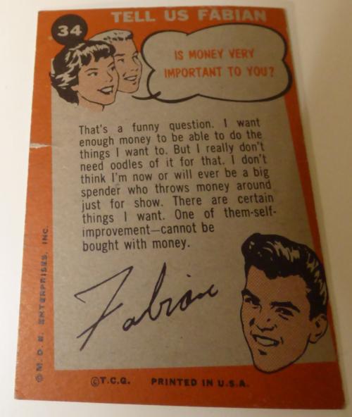 Fabian collector card 1964 x