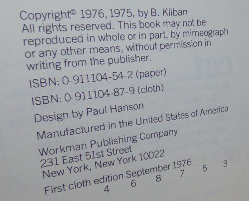 Kliban cat book 1976