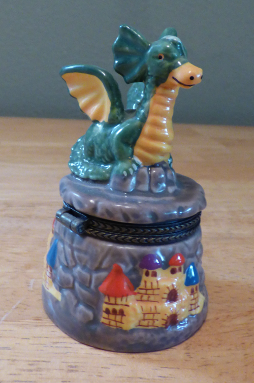 Ceramic dragon pillbox