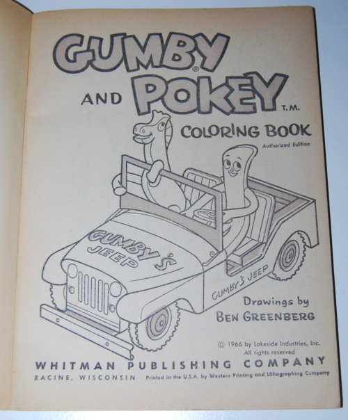 Gumby coloring book whitman 1