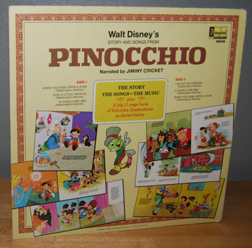 Disney pinnochio vinyl lp x