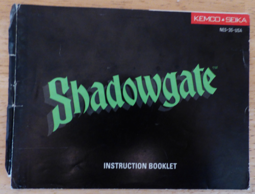Shadowgate nes instruction booklet