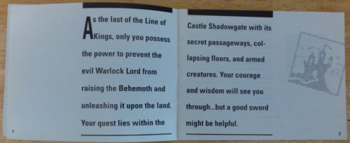 Shadowgate nes instruction booklet 1