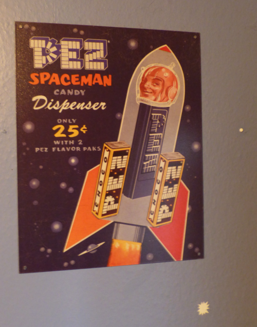 Pez spaceman tin retro sign