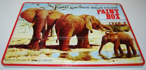 Tin paint box elephants