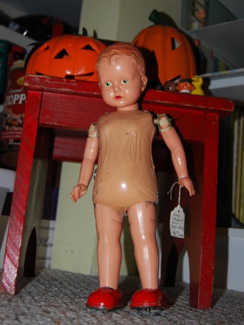 Vintage metal walking doll