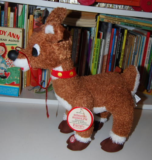 Singing rudolph plush toy