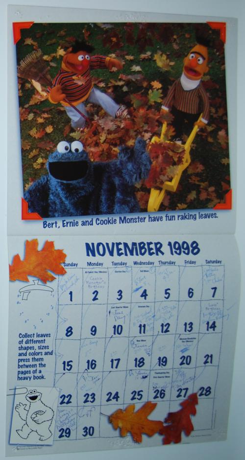 Sesame street calendar 1998 1