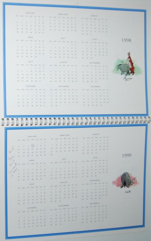 Winnie the pooh 1999 calendar 8