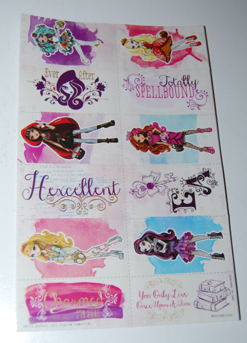 Ever after high valentine stickers