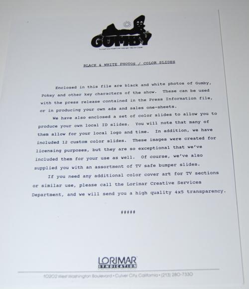Gumby lorimar promo pack 7