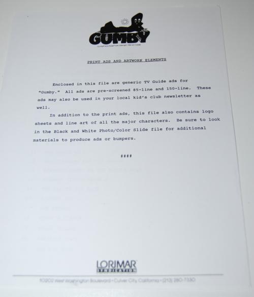 Gumby lorimar promo pack 12
