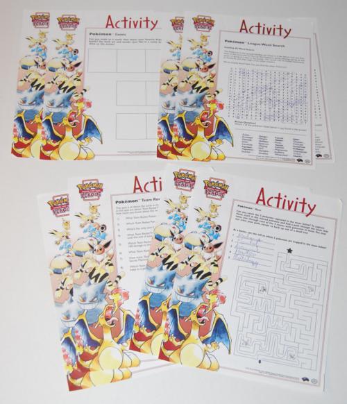 Pokemon league activity pages