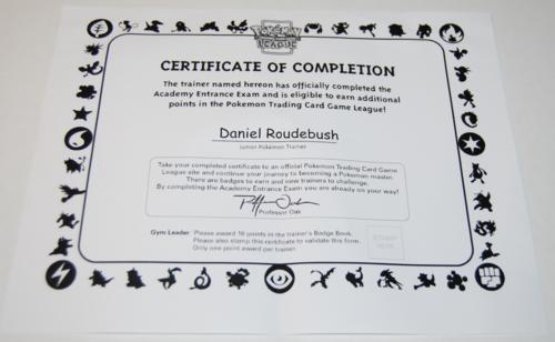 Pokemon jr league trainer certificate